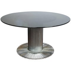 1950s Italian Fume' Glass Top Dining Table Attributed to Gastone Rinaldi