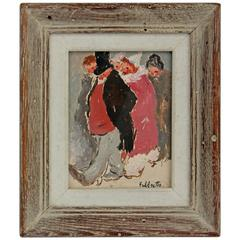 Chatting Couples Impressionist Oil on Panel by Angelo del Fabbretto