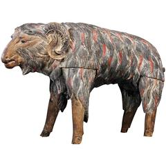 Antique Balinese Carved and Painted Ram