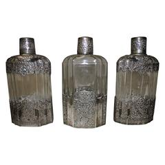 """Set of 19th Century Glass Bottles Signed """"Cotty"""""""