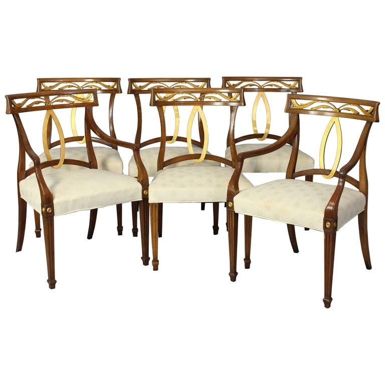 Italian Style Dining Room Furniture: Set Of Six Midcentury Italian Neoclassical Style Dining