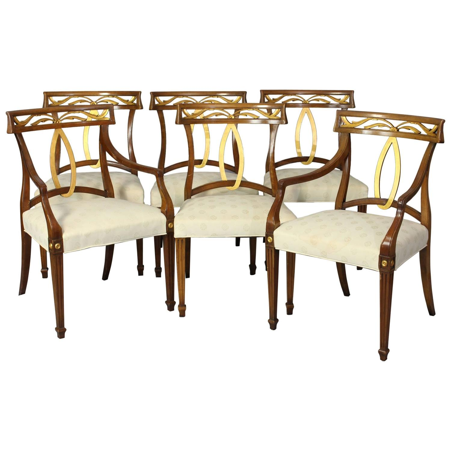 Set Of Six Midcentury Italian Neoclassical Style Dining