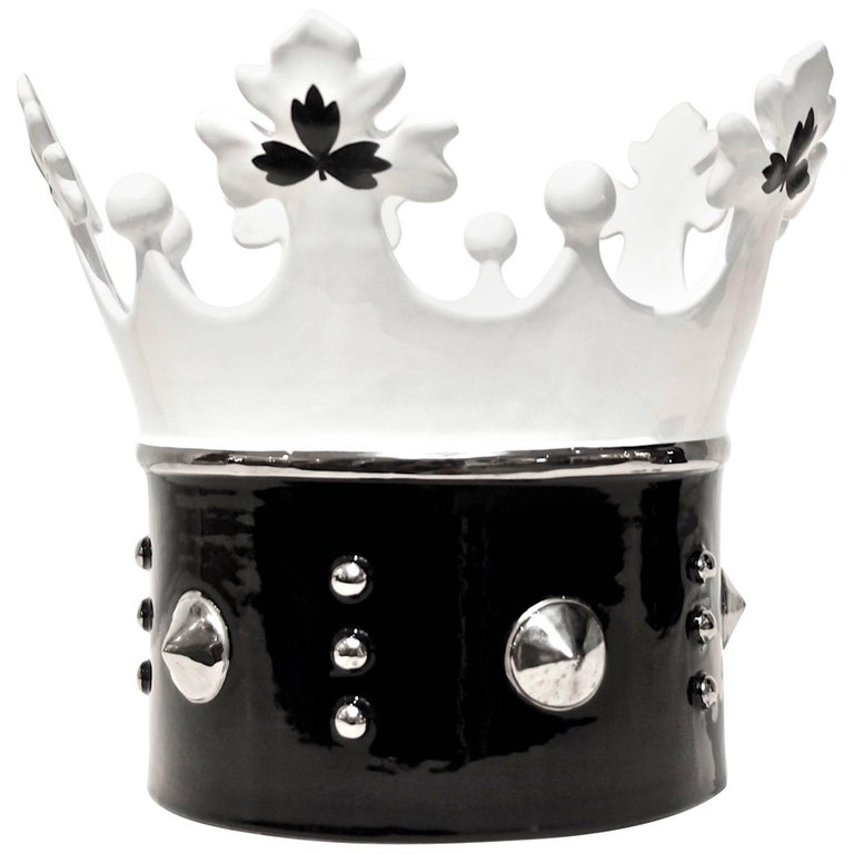 Contemporary Italian Black & White Majolica Crown Bowl with Platinum Accents
