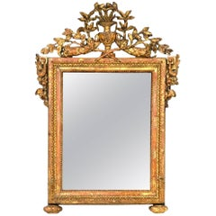 Louis XVI Painted and Parcel Giltwood Mirror with Original Plate