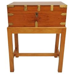Late 19th Century British Campaign Satinwood Officer's Chest on Custom Stand