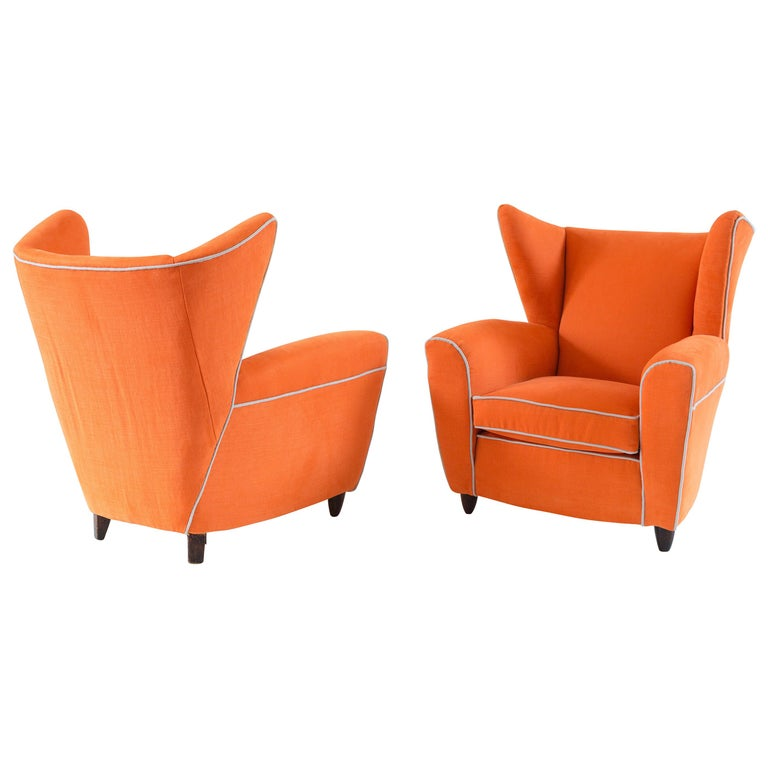 Pair of Large Attributed Melchiorre Bega Wingback Orange Armchairs, 1952 For Sale