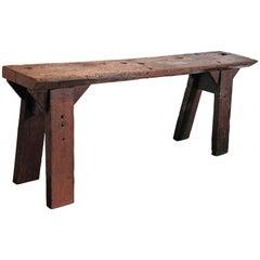 French Shop Table as Narrow Console Table, circa 1920