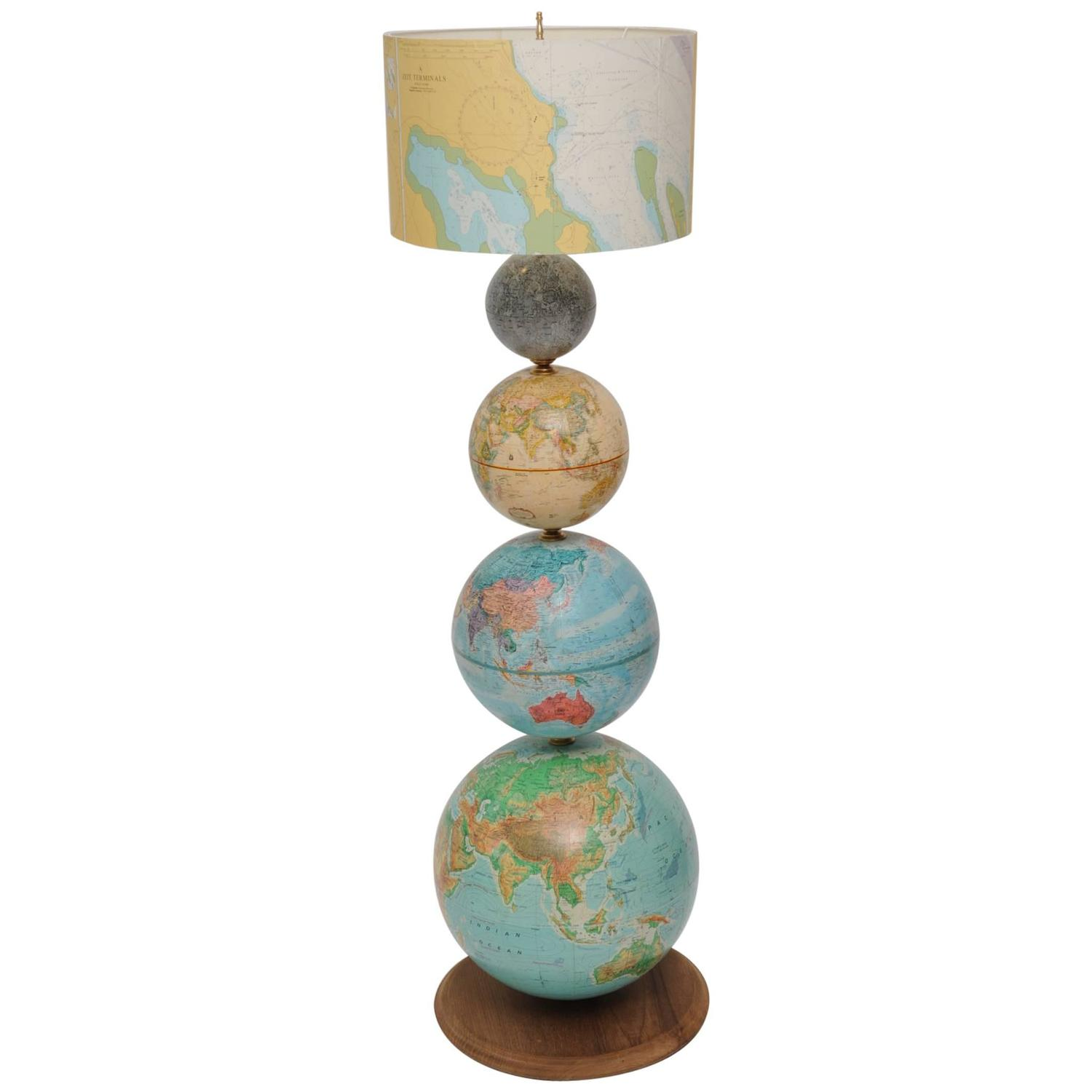 Vintage Earth And Moon Globes Converted To Floor Lamp With