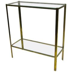 Maison Malabert Bronze and Glass Side Table, France, 1940s