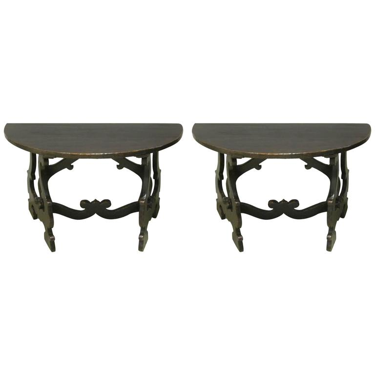 18th Century Pair of Demilune Refectory Tables, Italy 1