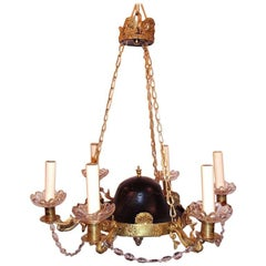 Tole and Brass Empire Chandelier