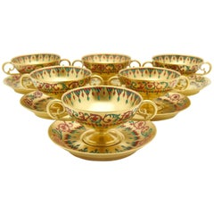 Six French Gold Footed Compotes and Saucers Persian Enameled Decoration, Signed