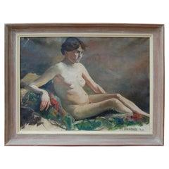 Vintage Swedish Nude Oil Painting by Helge Frender c. 1936