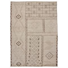 Contemporary Moroccan Area Rug with Tribal Design