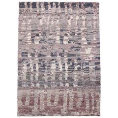 Contemporary Moroccan Style Rug with Lavender Abstract Design