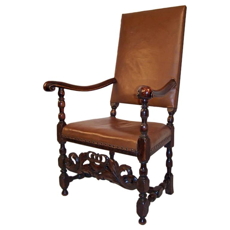 English Walnut Armchair with Leather Upholstery, 18th Century For Sale
