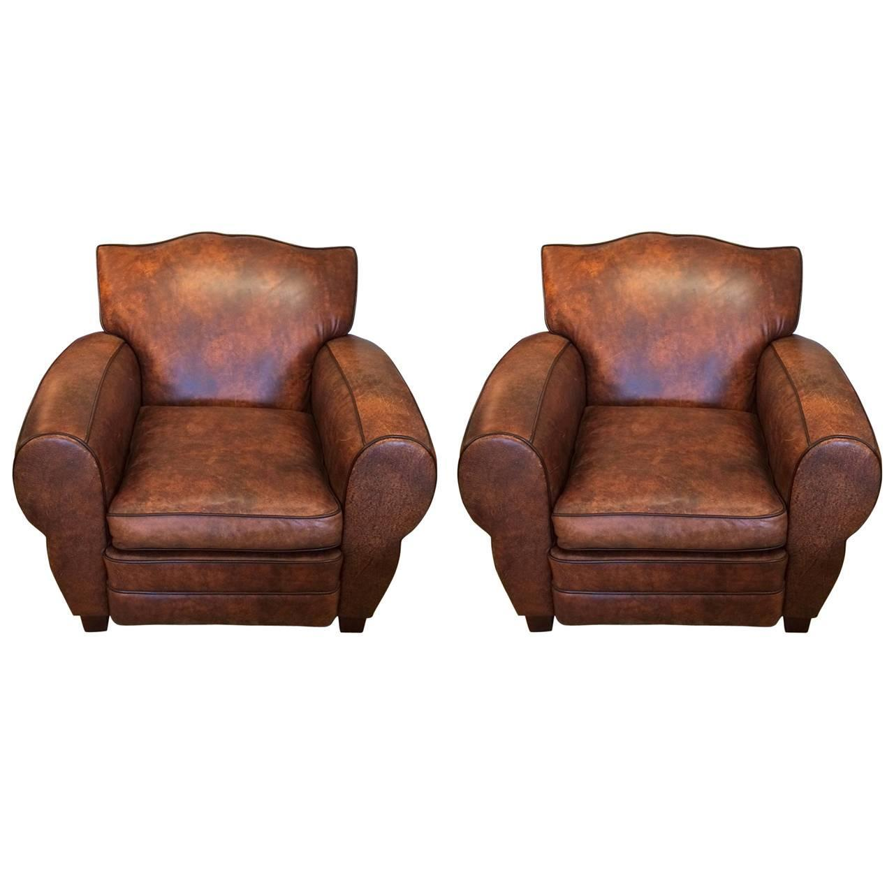 Pair of Luscious Brown Leather Club Chairs at 1stdibs