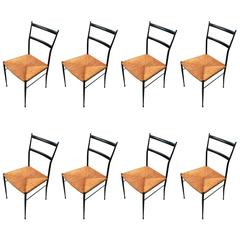 Set of Eight Fabulous Italian Black Wood and Rush Seat Dining Chairs