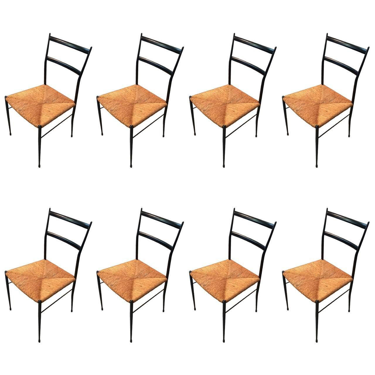 Set Of Eight Fabulous Italian Black Wood And Rush Seat Dining Chairs At 1stdibs