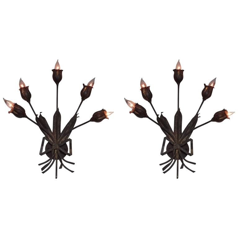 Pair Large French Mid-Century Modern Gilt Iron Floral Wall Sconce, Maison Bagues For Sale