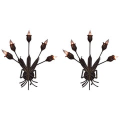 Pair Large French Mid-Century Gilt Iron Floral Wall Sconces Attr. Maison Bagues