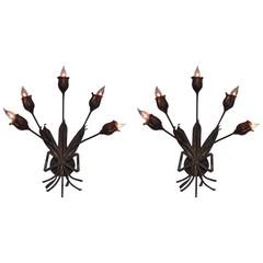 Pair Large French Mid-Century Modern Gilt Iron Floral Wall Sconce, Maison Bagues
