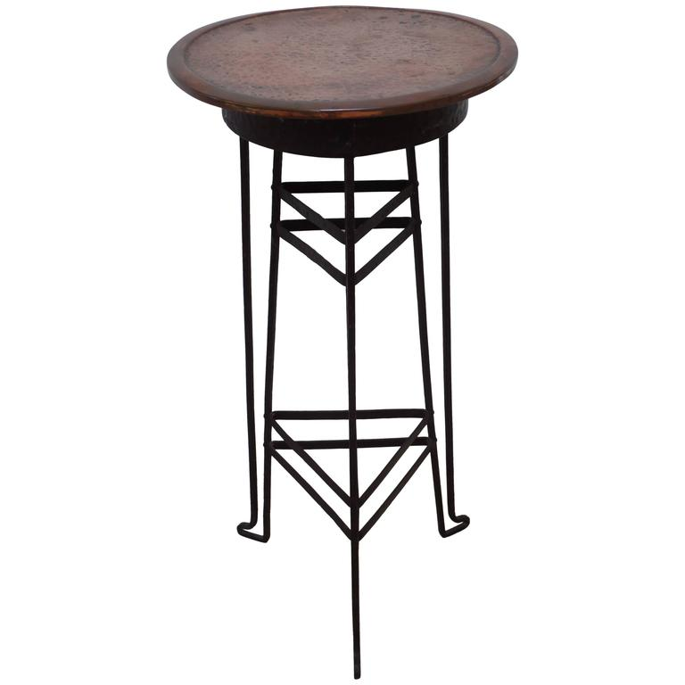 Austrian Early Modern Copper and Steel Gueridon or Side Table