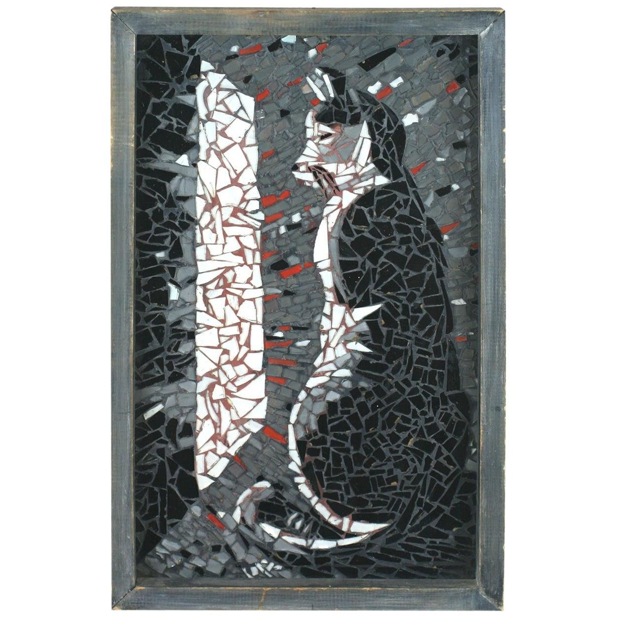 Folk Art Glass Shard Cat Picture
