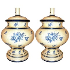 White and Blue Porcelain Lamps