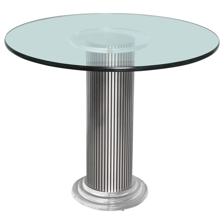 "Vintage, Lucite Pedestal Table with Round 1"" Glass Top, Original Condition For Sale"