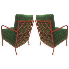 Jean Royère Pair of Croisillon Armchairs in Red Lacquered Wrought Iron