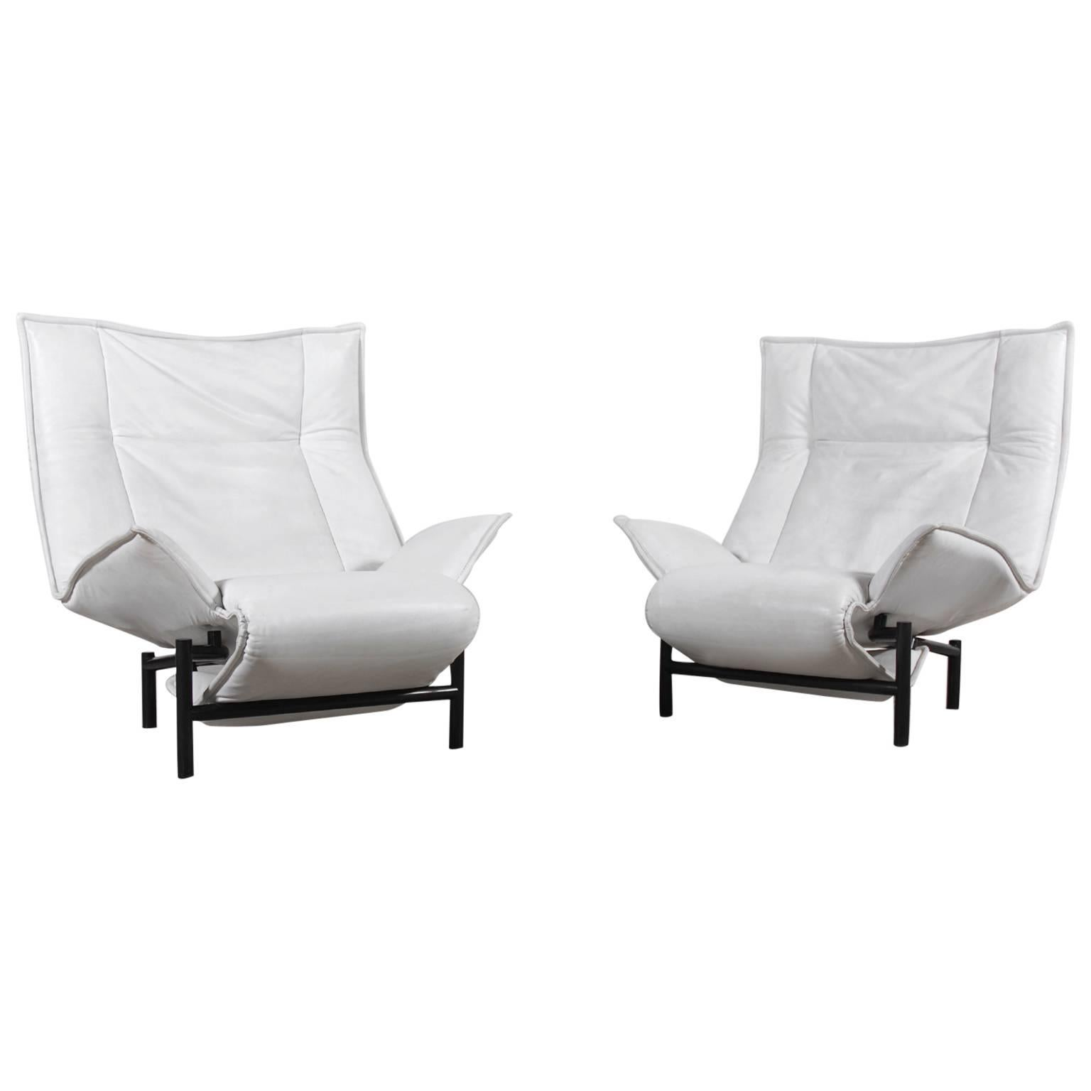 "Vico Magistretti Pair of ""Veranda"" Lounge Chairs for Cassina, 1983"