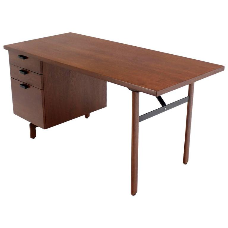 Mid Century Danish Modern Oiled Walnut Desk File Drawer For