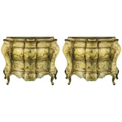 Pair of Early 19th Century Venetian Rococo Decorated Bombe Commodes