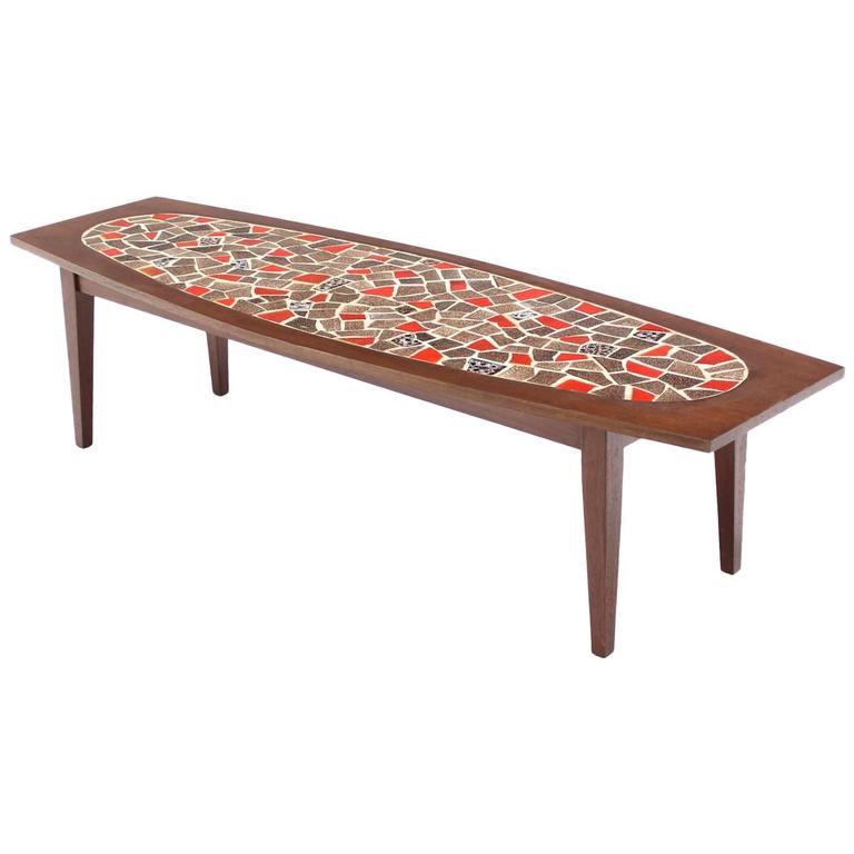 Oval mossaic tile top rectangular boat shape walnut long coffee table for sale at 1stdibs Oval shaped coffee table