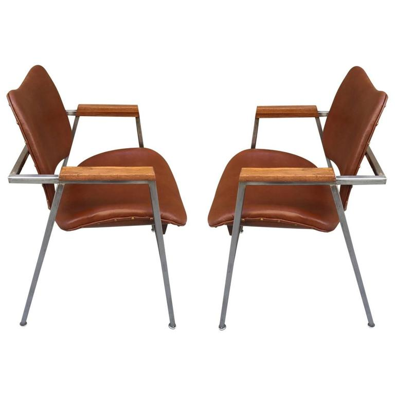Pair Industrial Chairs w/ Leather Seats