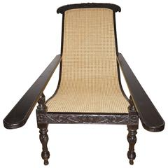 Rare Ebony Wood Late 19th Century Plantation Chair, Anglo-Indian
