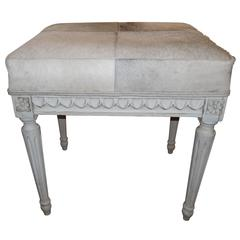 Gustavian Decorated Pony Skin Stool