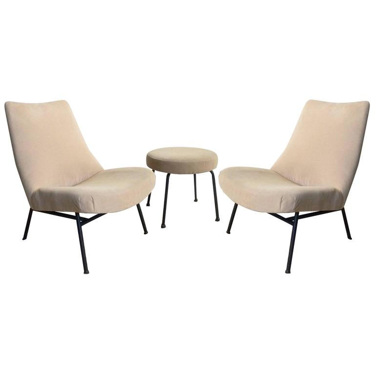 Pair of Pierre Guariche Armchairs with Matching Stool