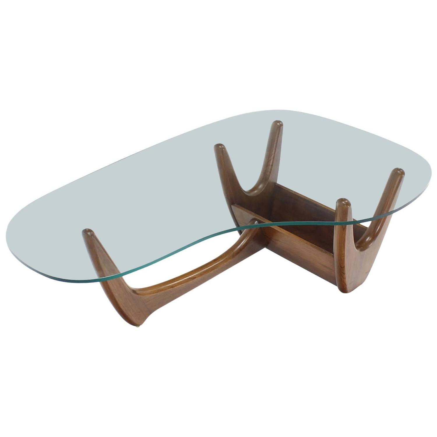 Organic Kidney Shape Glass Top Walnut Coffee Table w Planter For