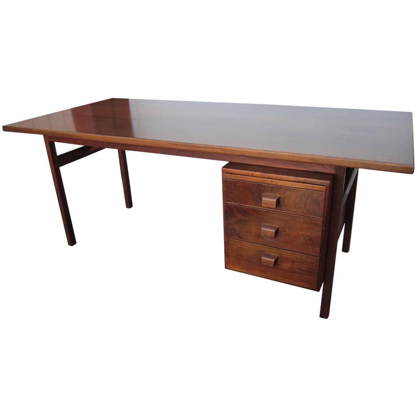 Handsome Jens Risom Walnut Desk, Mid-Century Modern