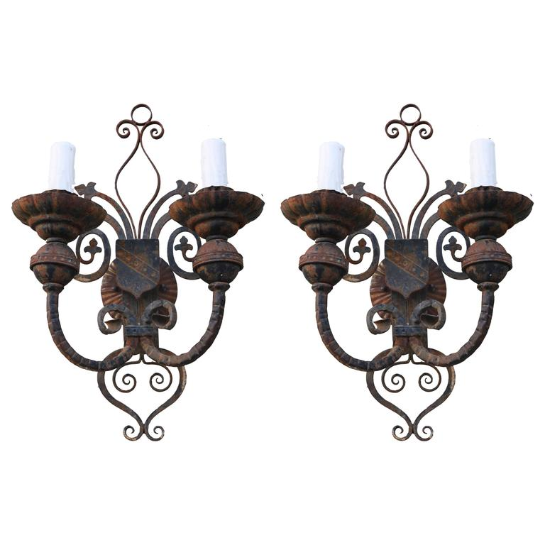 Pair of Spanish Wrought Iron Sconces at 1stdibs