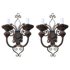 Pair of Spanish Wrought Iron Sconces