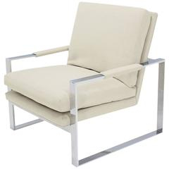 Baughman Chrome Lounge Chair with New Upholstery