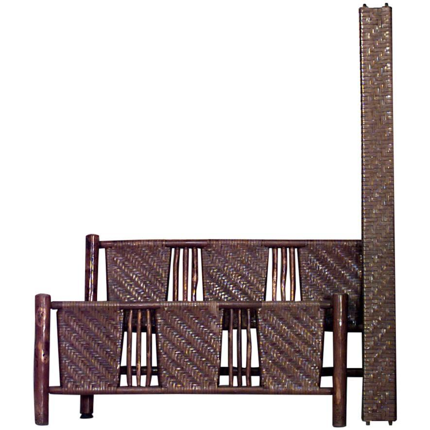 Rustic Old Hickory Woven Full Size Bed