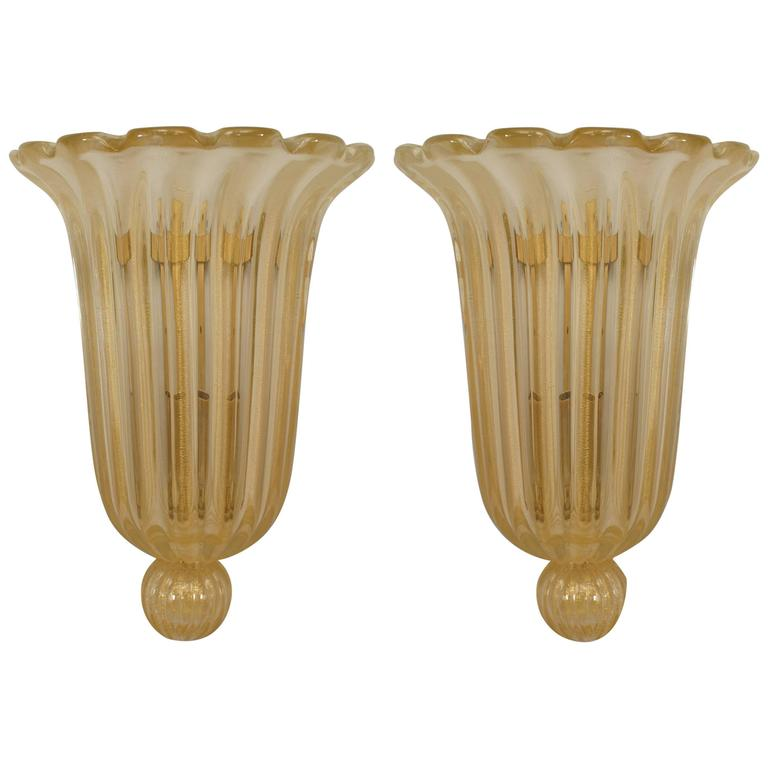 Pair of Italian Fluted and Scalloped Gold Murano Glass Sconces