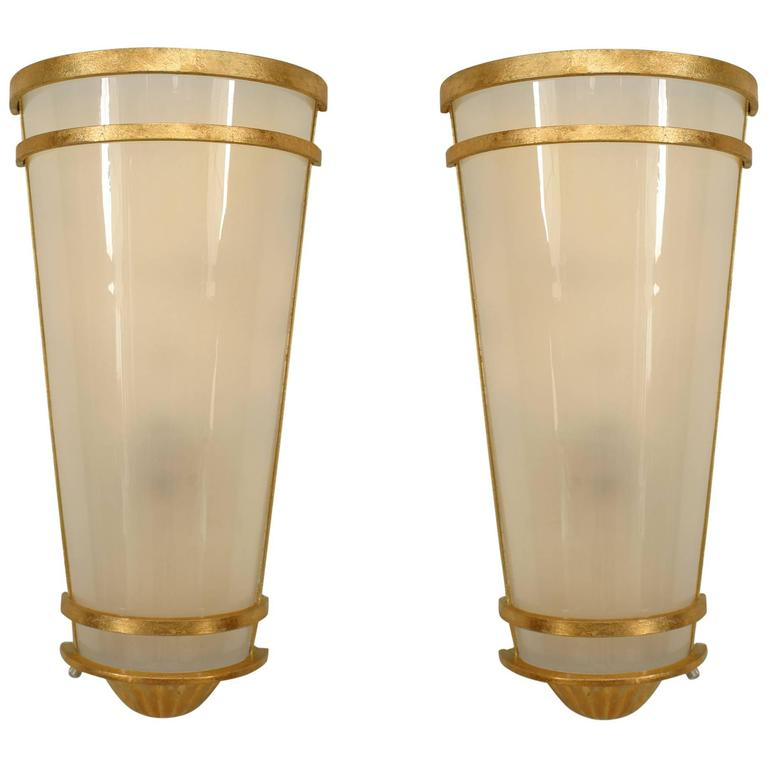 Pair of Cylindrical Gilt-Trimmed Frosted Glass Wall Sconces