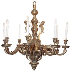 19th Century French Patinated Bronze Eight-Light Chandelier with Cherubs