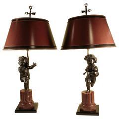 Pair of Bronze Putti Lamps