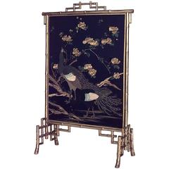 19th Century French Gilt Faux Bamboo Fire Screen